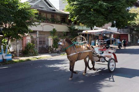 horse drawn carriage: MANADO, NORTH SULAWESI, INDONESIA - AUGUST 5, 2015: Horse drawn carriage in the streets of Manado on August 5, 2015 in Manado, North Sulawesi, Indonesia