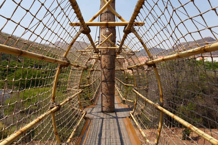 atraction: Suspension rope bridge, entry to maze, one of tourist atraction in luxury resort in Sun City, South Africa Editorial