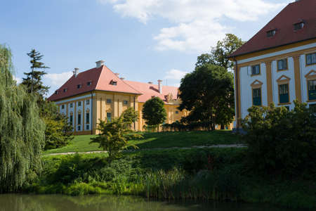 unesco in czech republic: Front View of Lednice Castle at Sunset, UNESCO World Heritage in Lednice, South Moravia, Czech Republic