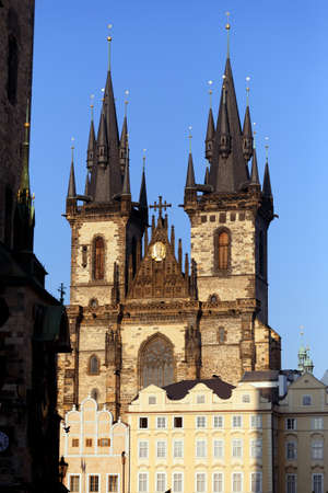 stare mesto: The Church of Our Lady before Tyn, from Old Town Square (Stare Mesto, Prague, Czech Republic, build in 15th century). Building completed in 1511y.
