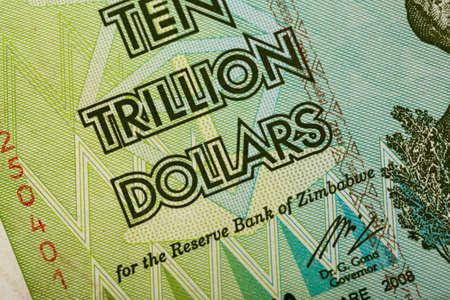 trillion: Macro of Zimbabwe twenty billion dollars banknote. Now void currency. Inflation concept