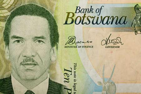 botswana: Detail of 10 Botswana Pula banknote. Botswana Pula is the national currency of Botswana Stock Photo