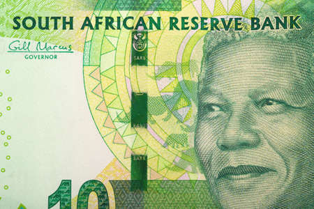 Detail of rand banknote. South African rands is the national currency of South Africa