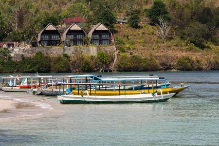 nusa: catamaran boat, Bali Indonesia, Nusa Penida island with blue sky