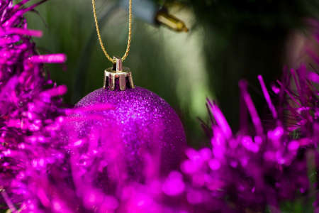 detail: detail of decorated christmas tree with violet balls