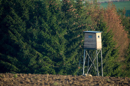 hunters tower: Wooden Hunters High Seat hunting tower in rural Landscape, Czech Republic Scenery