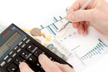business collage: calculator, charts, pen in hand, business cards, money, workplace businessman, business collage