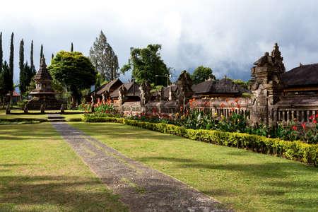 bratan: garden in Pura Ulun Danu water temple on a lake Beratan, Bali Indonesia