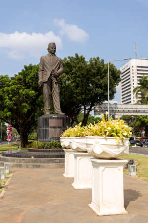 rodin: JAKARTA - August 10: The Statue of Mohammad Husni Thamrin (or populary known as MH Thamrin), located on Medan Merdeka Selatan, Jakarta PusatCentral Jakarta. August 10, 2015 in Jakarta, Indonesia.