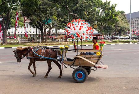 horse drawn: JAKARTA - August 10: Horse drawn carriage in the street of Jakarta. August 10, 2015 in Jakarta, Indonesia.