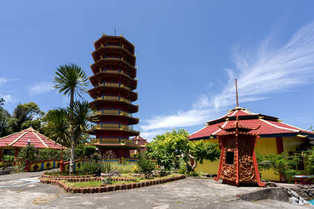 tourist tourists: Beautiful Pagoda Ekayana, famous tourist place tourist near Tomohon on the Village Kaskasken, North Sulawesi Utara,  Indonesia