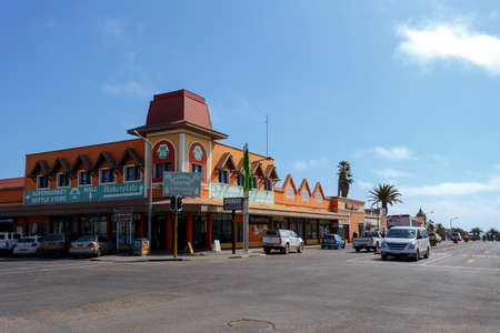 swakopmund: SWAKOPMUND, NAMIBIA - October 8, 2014: Beautiful colonial German architecture on stret of Swakopmund. City was founded in 1892, by Captain Curt von Francois as the main harbour of German South West Africa.