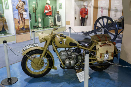 apartheid: Johannesburg, South Africa - October 30, 2014: 2nd World War BMW Motorcycle Afrika Corps 1942. National Museum of Military History in Johannesburg.