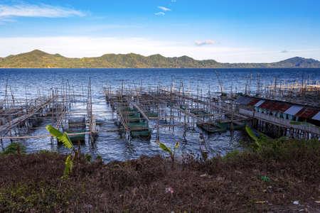 hatchery: Fish farm and hatchery or nursery, Lake Tondano, Sulawesi, Indonesia (Celebes), Asia Editorial