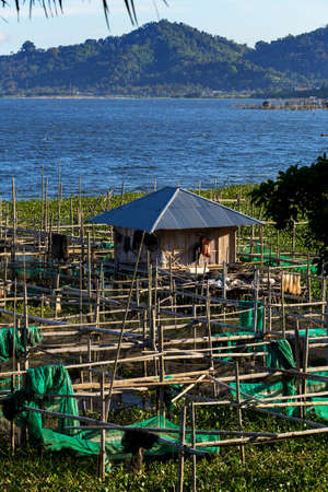 celebes: Fish farm and hatchery or nursery, Lake Tondano, Sulawesi, Indonesia (Celebes), Asia Editorial