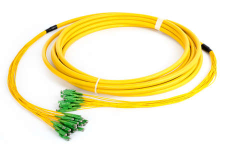 fiberoptic: fiber optic E2 (LSH) pigtail, patchcord connectors on white background