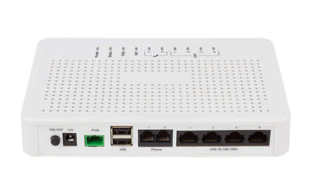 end user: Passive Optical network unit, end user GPON subscriber network terminal Stock Photo