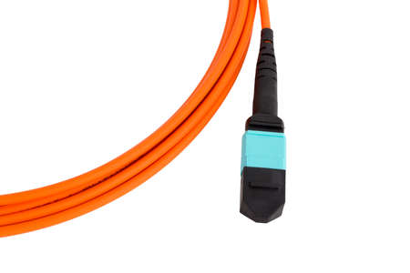 fiberoptic: fiber optic MTP (MPO) connectors patchcord on white background