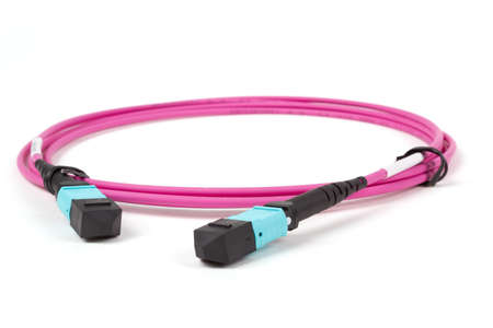 fiber optic MTP (MPO) connectors patchcord on white background