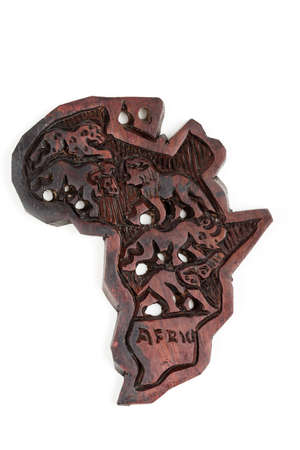 big five: wooden map of continent africa with animals silhouette, big five