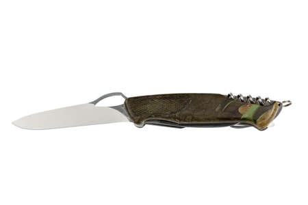opened professional multipurpose knife isolated on white with all neccessary tools all in one