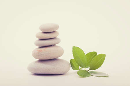 tranquility: Pile of balancing pebble stones and green leaf, like ZEN stone, isolated on white background, spa tranquil scene concept with reflection, retro color pastel tone
