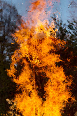 christian festival: walpurgis night, religion christian festival, burning fire wood, traditional burning witches on stake with huge flames Stock Photo