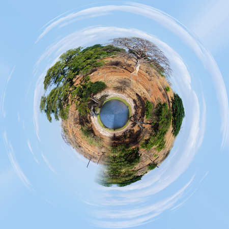 discovery channel: little planet of Chobe river in Botswana, Little planet with africa landscape, ecology concept. Tiny green projection. Save Africa ecology concept. Stock Photo