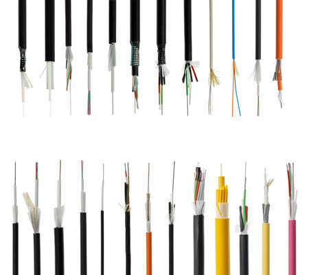 strenght: Collection of 25 fiber optical cables isolated on white background. Loose tubes with optical fibres and central strenght member including waterblocking glass yarn and ripcord, multimode or single mode