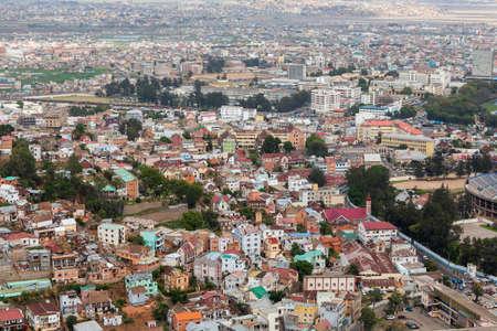 penury: Antananarivo, french name Tananarive, short name Tana,  Very poor capital and largest city in Madagascar, Madagasikara republic. View from top to Central Antananarivo cityscape.