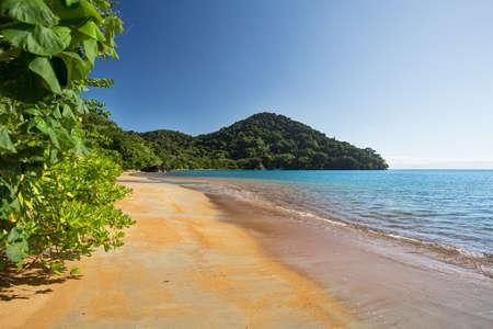Beautiful dream paradise beach in Masoala national park, Madagascar. Blue sky and clear sea, Wilderness virgin nature scene