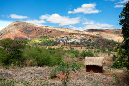 penury: Traditional Madagascar highland landscape. Deforestation in Madagascar creates agricultural or pastoral land but can also result ecology problem with soil and water. Madagascar