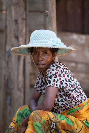 MADAGASCAR OCTOBER 17.2016 Portrait of old Malagasy woman with straw hat, Toamasina Province, October 17. 2016, Madagascar, Africa