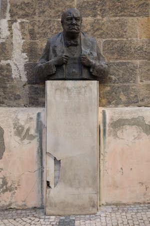 winston: PRAGUE, CZECH REPUBLIC - DECEMBER 3, 2016: Winston Churchill Memorial Statue. December 3, 2016 Prague, Czech Republic.