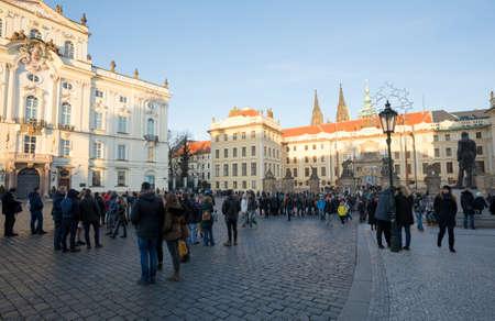 antiterrorist: PRAGUE, CZECH REPUBLIC - DECEMBER 3, 2016: Tourists queue in front of the Prague Castle, due to anti-terrorist checks. December 3, 2016 Prague, Czech Republic.