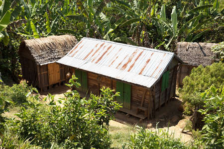 destitution: Traditional african malagasy huts in Andasibe region, typical village in Madagascar, Toamasina Province.  Stock Photo
