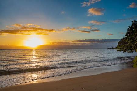 Idylic sunset over indian ocean in Nosy Mangabe national park. Madagascar paradise landscape. Wilderness pure nature scene