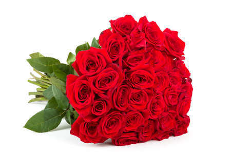 Bouquet of fresh valentine red roses isolated on white background