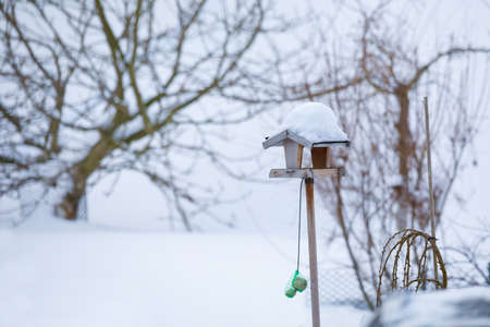 simple homemade wooden birdhouse installed on winter garden in snowy day Stock Photo