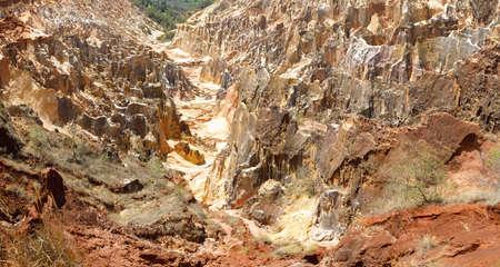 amazing stunning: Beautiful famous Lavaka of Ankarokaroka erosion canyon in Ankarafantsika National Park, incredible moonscape with dry forest and lake, Boeny Region of Northwest Madagascar Stock Photo
