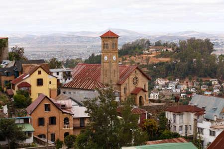 penury: Antananarivo, french name Tananarive, short Tana, Very poor capital and largest city in Madagascar, Madagasikara republic. View to top of Central Antananarivo. In front Andohalo cathedral,