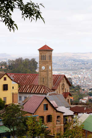 Antananarivo, french name Tananarive, short Tana, Very poor capital and largest city in Madagascar, Madagasikara republic. View to top of Central Antananarivo. In front Andohalo cathedral,