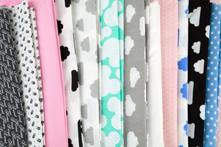tailored: Stack of cotton fabric material for background or backdrop