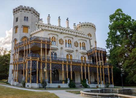 nad: Beautiful white renaissance castle castle Hluboka nad Vltavou in the Czech Republic.