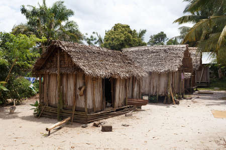 Traditional african malagasy hut in masoala forest reserve, typical village in north east Madagascar, Toamasina Province.
