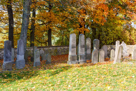 forgotten and unkempt Jewish cemetery with the strangers with fall colors in autumn season
