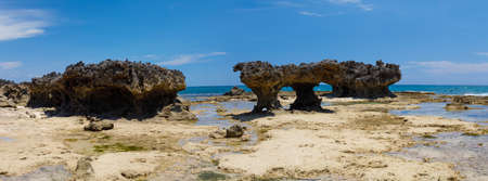 Beautiful rocky beach in Diego Suarez bay in Indian ocean,  Madagascar beautiful picturesque nature landscape