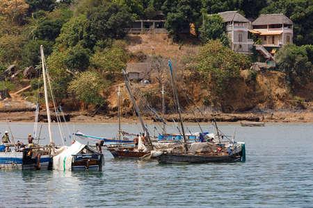NOSY BE ,MADAGASCAR - NOVEMBER 3.2016 Traditional small malagasy fishing sail boats in bay of Nosy Be port. Nosy be, Madagascar, November 3. 2016 Editorial
