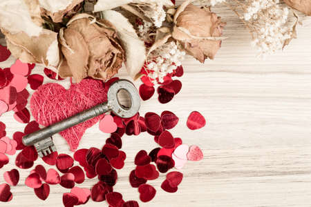 Love Key to my heart, symbol of love, valentines background Stock Photo