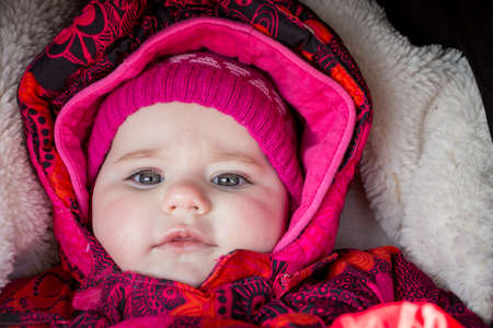 cute infant baby girl - the first year of the new life